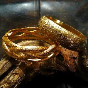 2 vintage yellow gold plated bangle bracelets